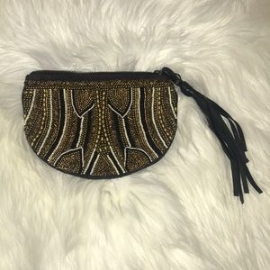 Beaded Anthropologie Clutch with taste pull